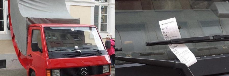 Le multan una escultura por estar mal aparcada