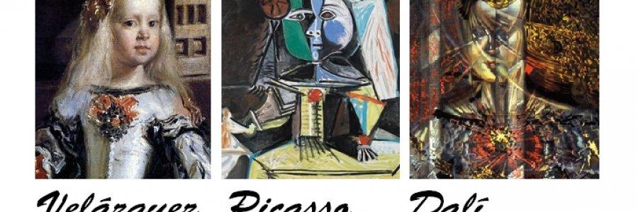 Tres genios para la Infanta Margarita, las meninas de Velázquez, Picasso y Dalí