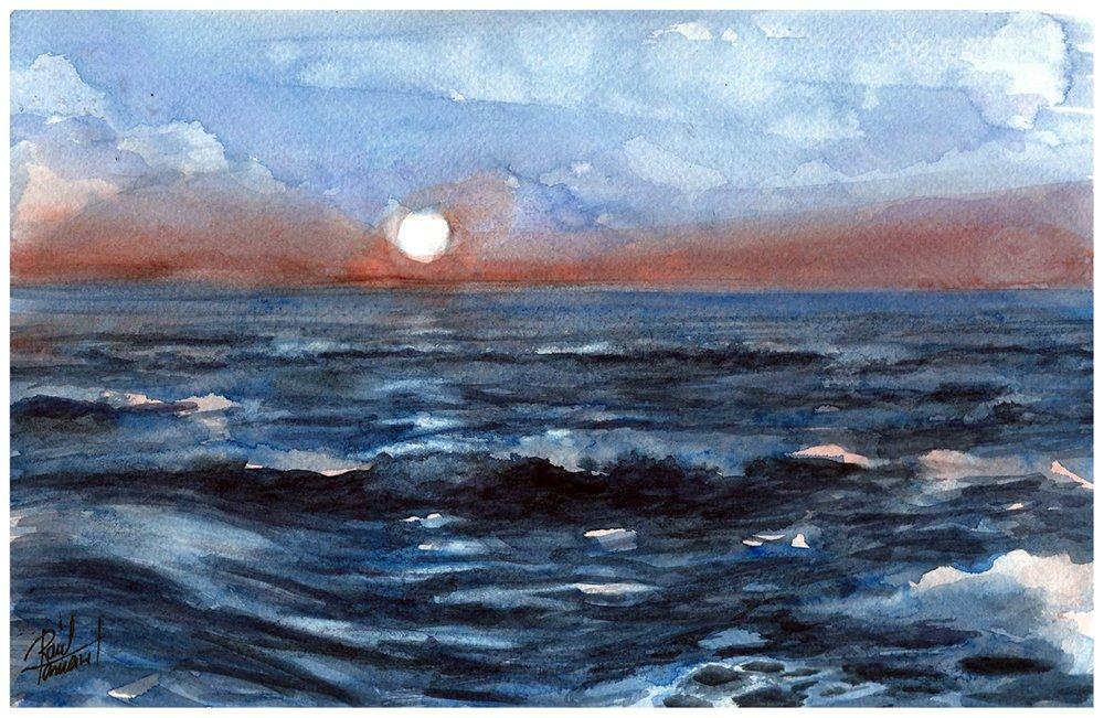 Como pintar paisajes marinos con acuarelas tutoriales - Paisajes nevados para pintar ...