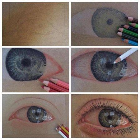 como pintar ojos con lapices de colores totenart tutoriales
