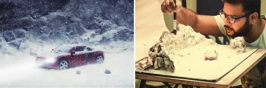 Como crear escenografías caseras en miniatura con el estilo de Vatsal Kataria